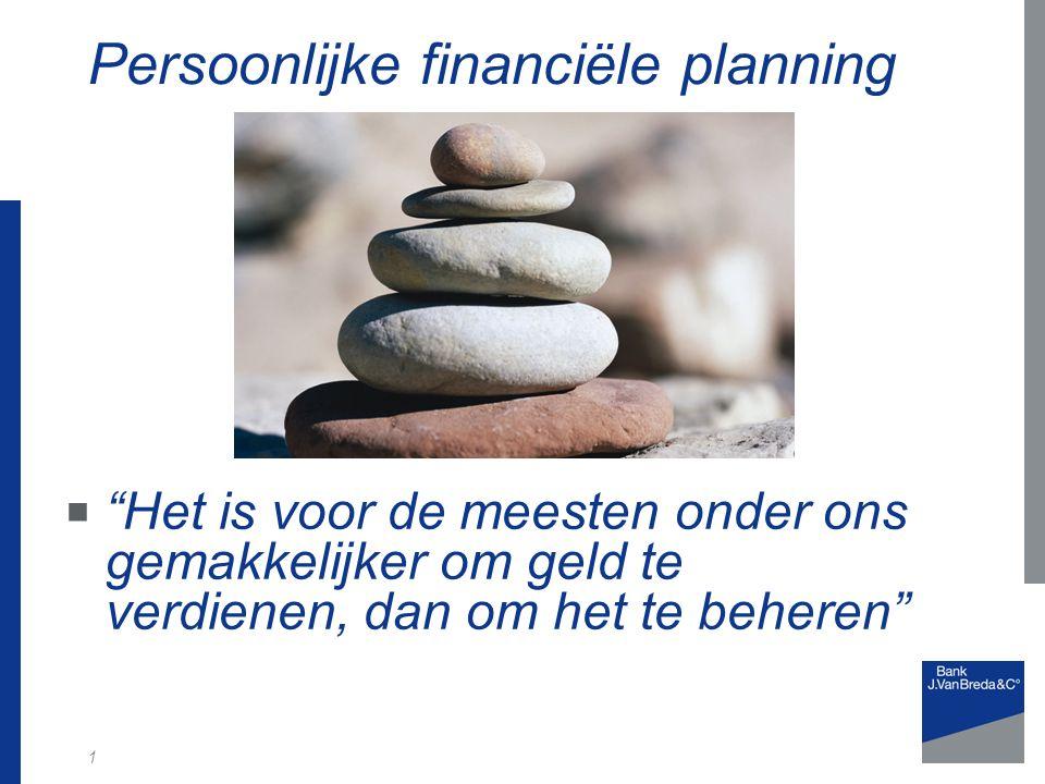 1 Persoonlijke financiële planning  Het is voor de meesten onder ons gemakkelijker om geld te verdienen, dan om het te beheren