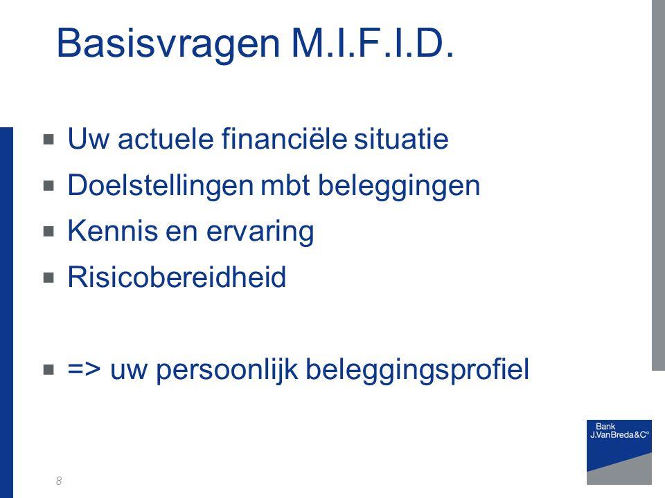 8 Basisvragen M.I.F.I.D.  Uw actuele financiële situatie  Doelstellingen mbt beleggingen  Kennis en ervaring  Risicobereidheid  => uw persoonlijk