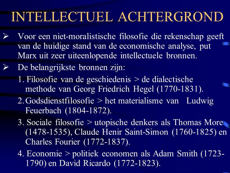 INTELLECTUEL ACHTERGROND  Voor een niet-moralistische filosofie die rekenschap geeft van de huidige stand van de economische analyse, put Marx uit ze