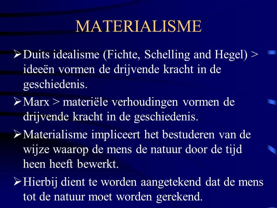 MATERIALISME  Duits idealisme (Fichte, Schelling and Hegel) > ideeën vormen de drijvende kracht in de geschiedenis.  Marx > materiële verhoudingen v