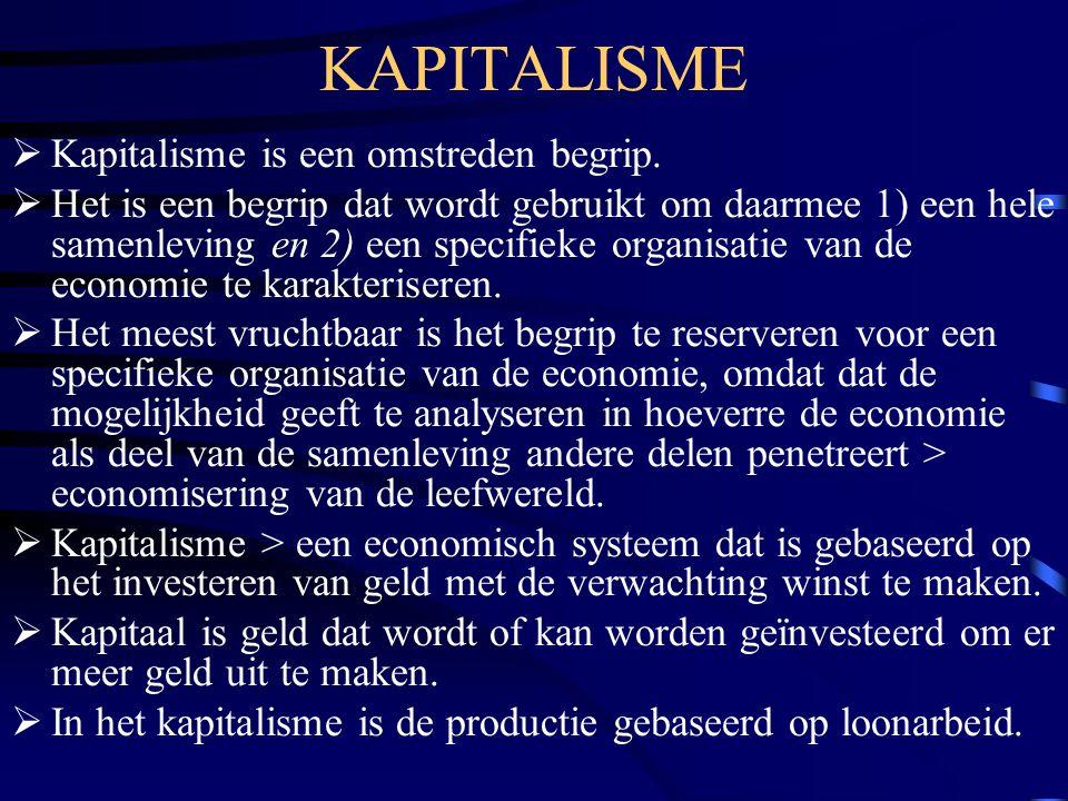 KAPITALISME  Kapitalisme is een omstreden begrip.  Het is een begrip dat wordt gebruikt om daarmee 1) een hele samenleving en 2) een specifieke orga