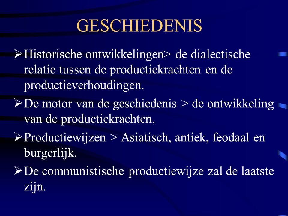 GESCHIEDENIS  Historische ontwikkelingen> de dialectische relatie tussen de productiekrachten en de productieverhoudingen.  De motor van de geschied