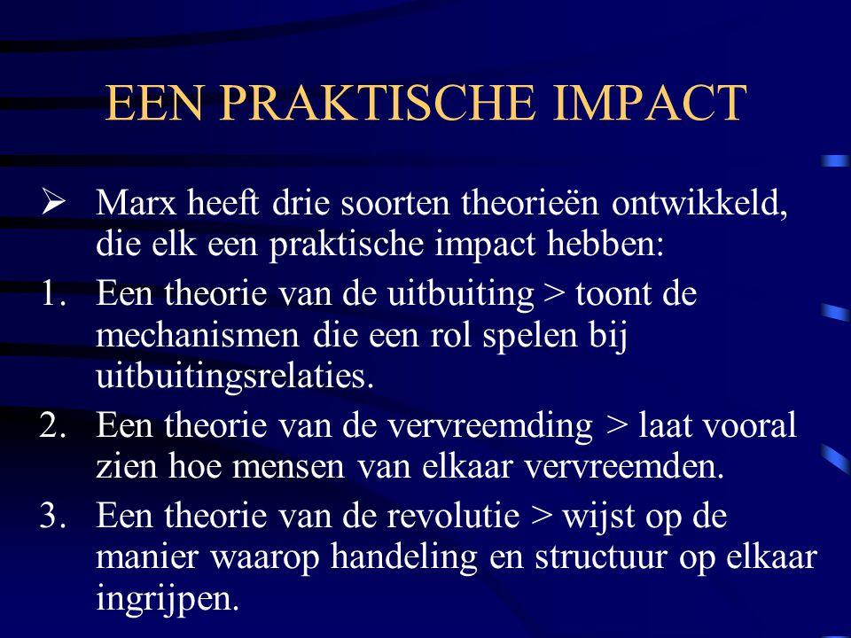 EEN PRAKTISCHE IMPACT  Marx heeft drie soorten theorieën ontwikkeld, die elk een praktische impact hebben: 1.Een theorie van de uitbuiting > toont de