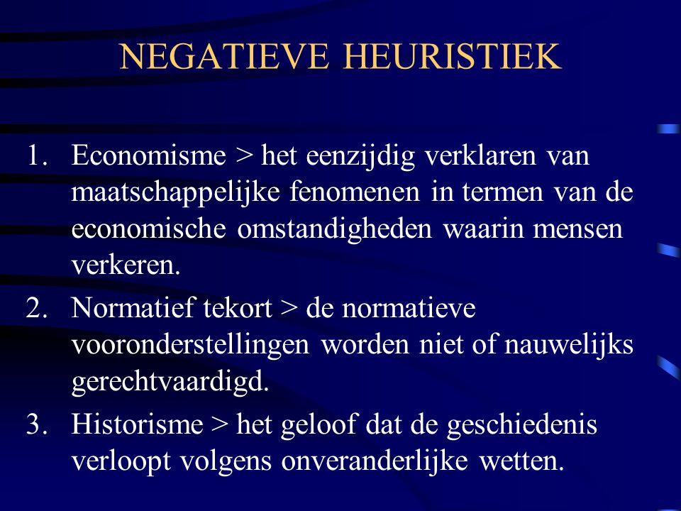 NEGATIEVE HEURISTIEK 1.Economisme > het eenzijdig verklaren van maatschappelijke fenomenen in termen van de economische omstandigheden waarin mensen v