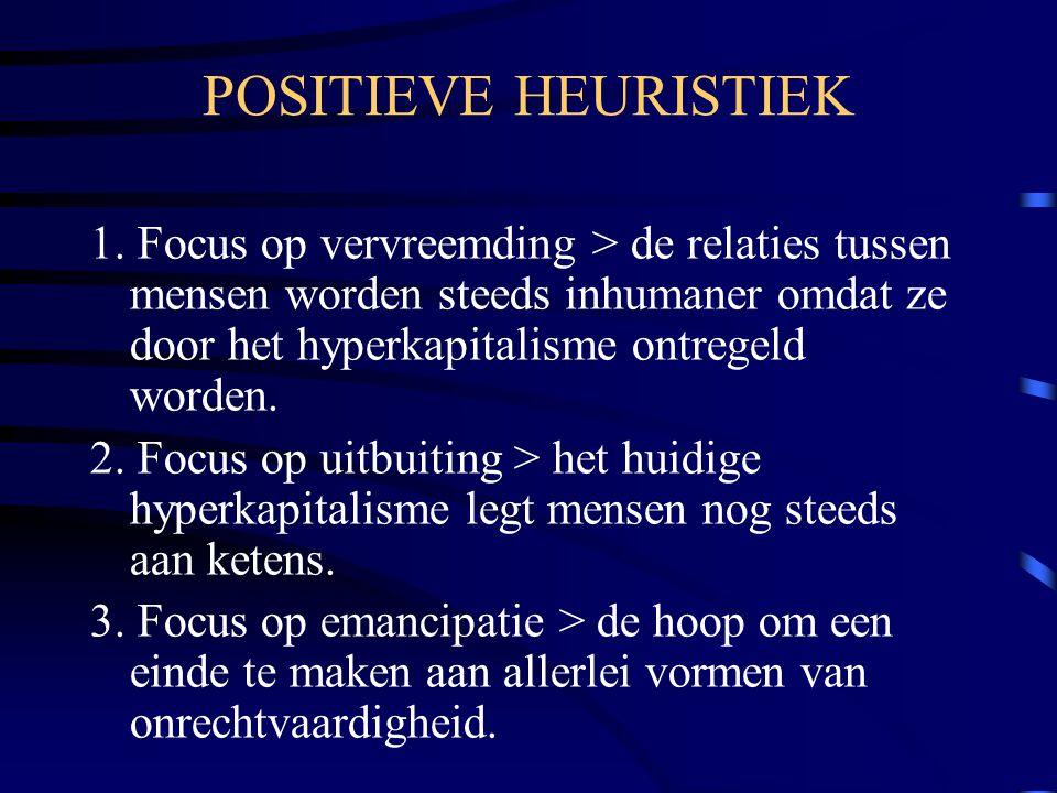 POSITIEVE HEURISTIEK 1. Focus op vervreemding > de relaties tussen mensen worden steeds inhumaner omdat ze door het hyperkapitalisme ontregeld worden.
