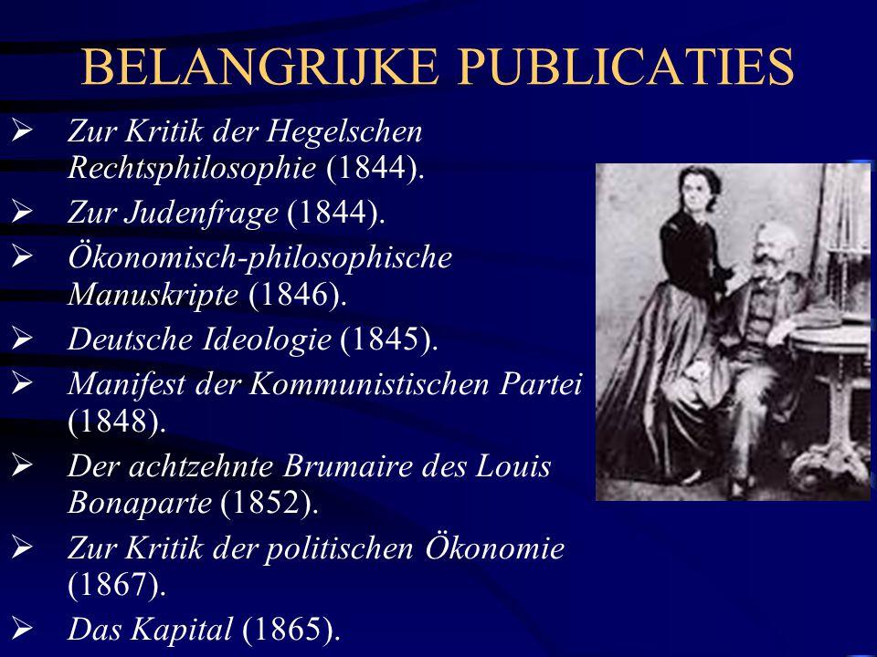 BELANGRIJKE PUBLICATIES  Zur Kritik der Hegelschen Rechtsphilosophie (1844).  Zur Judenfrage (1844).  Ökonomisch-philosophische Manuskripte (1846).
