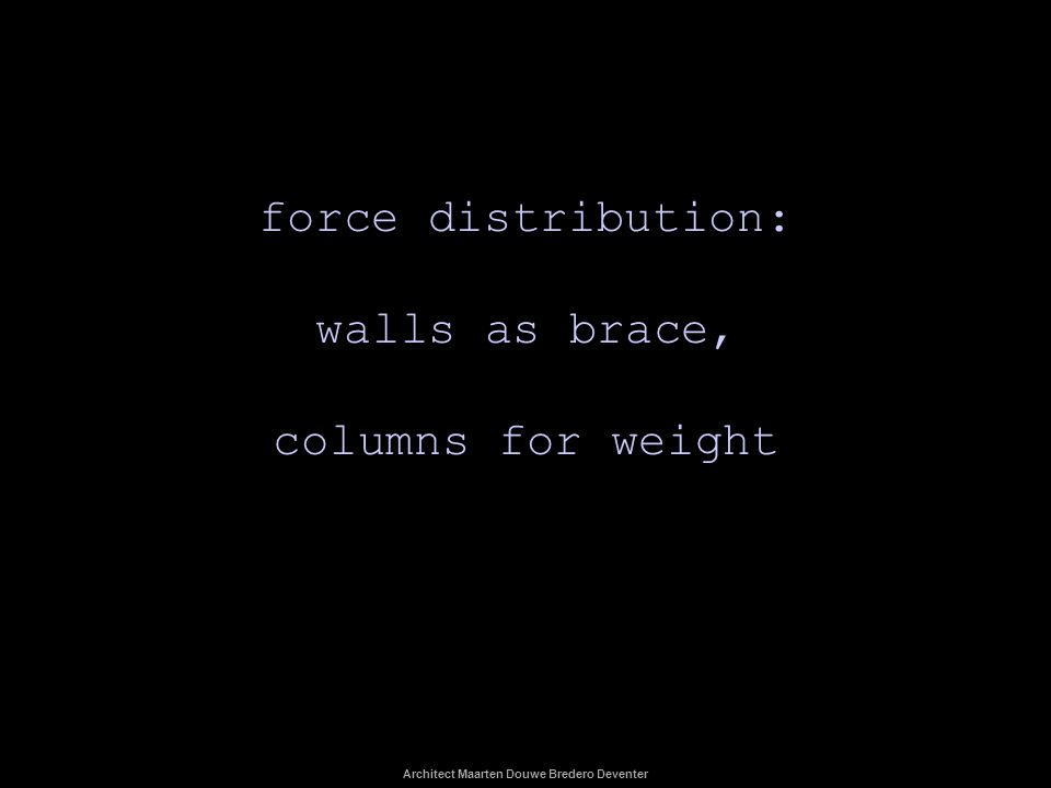 force distribution: walls as brace, columns for weight