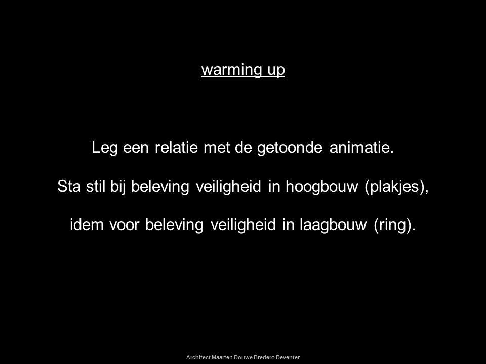 Architect Maarten Douwe Bredero Deventer warming up Leg een relatie met de getoonde animatie. Sta stil bij beleving veiligheid in hoogbouw (plakjes),