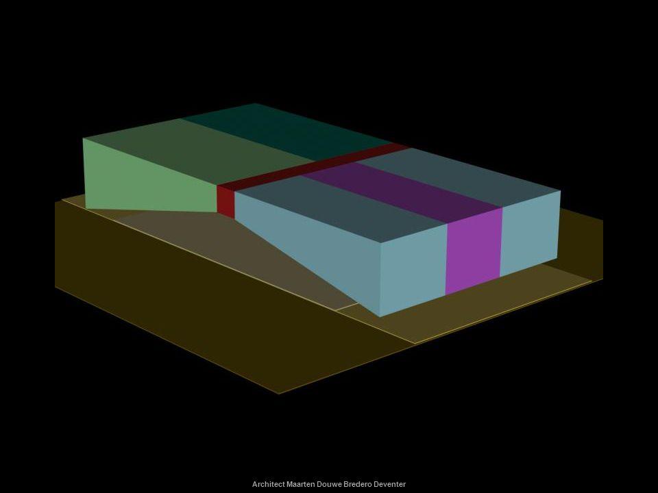 Architect Maarten Douwe Bredero Deventer ontwerpen Schets nogmaals (op transparant) een kubus met tussenvloer.