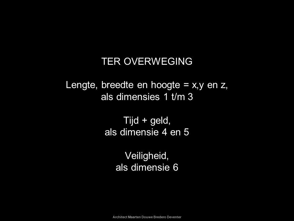 TER OVERWEGING Lengte, breedte en hoogte = x,y en z, als dimensies 1 t/m 3 Tijd + geld, als dimensie 4 en 5 Veiligheid, als dimensie 6