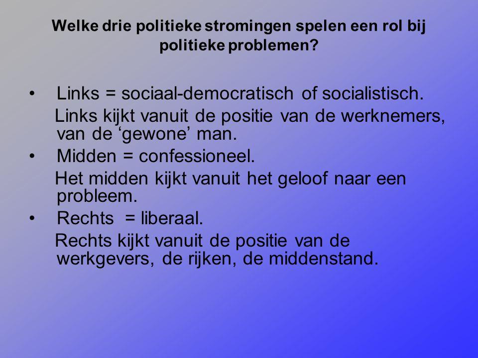 Welke drie politieke stromingen spelen een rol bij politieke problemen? Links = sociaal-democratisch of socialistisch. Links kijkt vanuit de positie v
