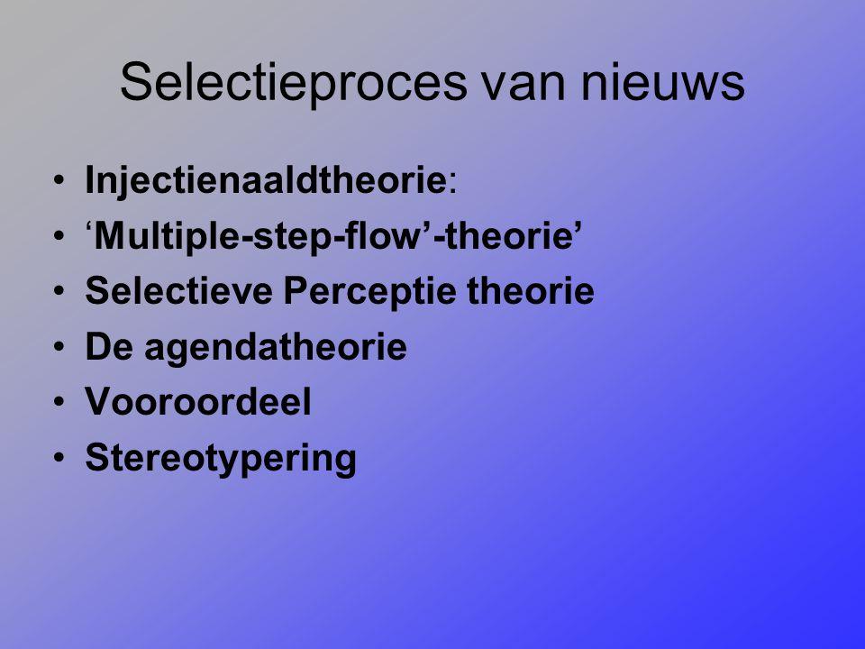 Selectieproces van nieuws Injectienaaldtheorie: 'Multiple-step-flow'-theorie' Selectieve Perceptie theorie De agendatheorie Vooroordeel Stereotypering