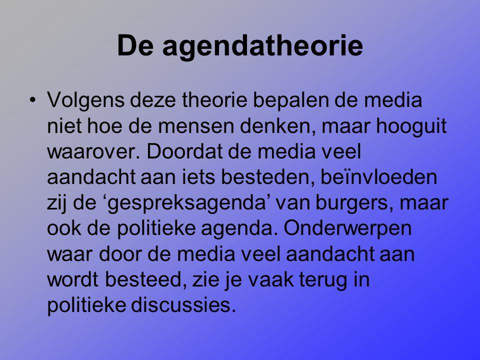 De agendatheorie Volgens deze theorie bepalen de media niet hoe de mensen denken, maar hooguit waarover. Doordat de media veel aandacht aan iets beste