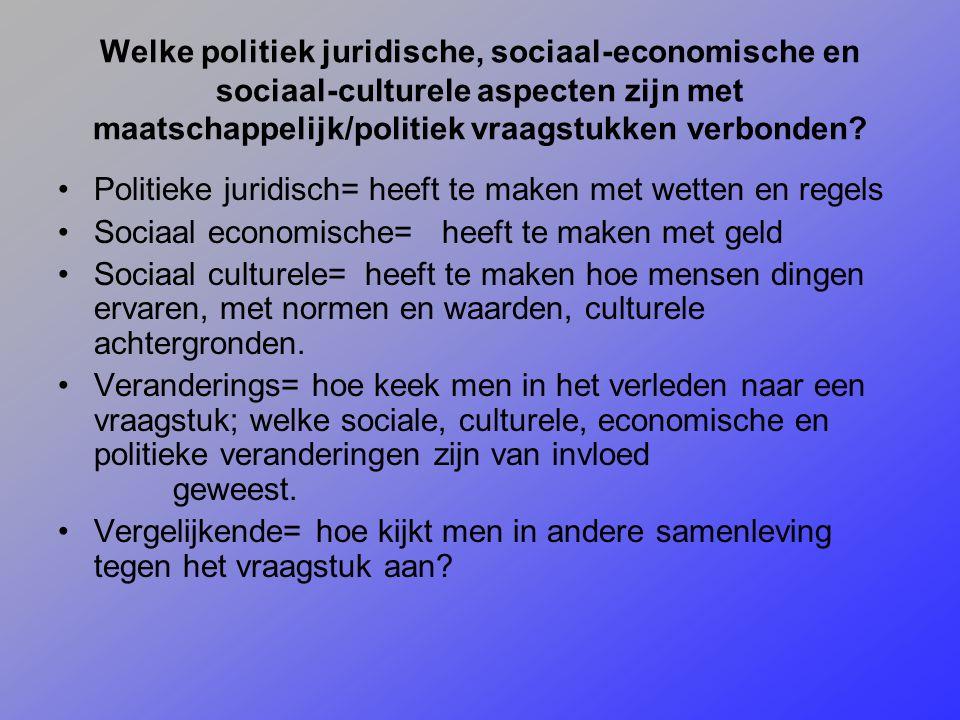 Welke politiek juridische, sociaal-economische en sociaal-culturele aspecten zijn met maatschappelijk/politiek vraagstukken verbonden? Politieke jurid