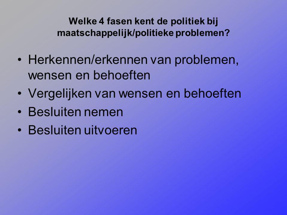 Welke 4 fasen kent de politiek bij maatschappelijk/politieke problemen? Herkennen/erkennen van problemen, wensen en behoeften Vergelijken van wensen e