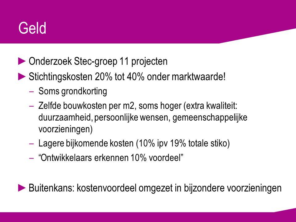 Geld ►Onderzoek Stec-groep 11 projecten ►Stichtingskosten 20% tot 40% onder marktwaarde.