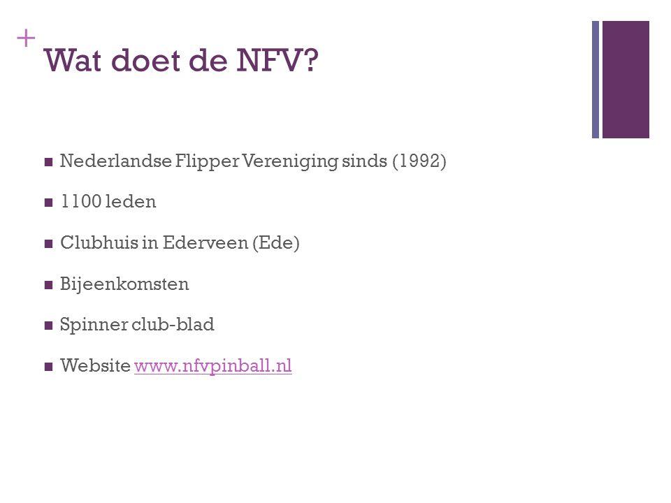 + Wat doet de NFV? Nederlandse Flipper Vereniging sinds (1992) 1100 leden Clubhuis in Ederveen (Ede) Bijeenkomsten Spinner club-blad Website www.nfvpi