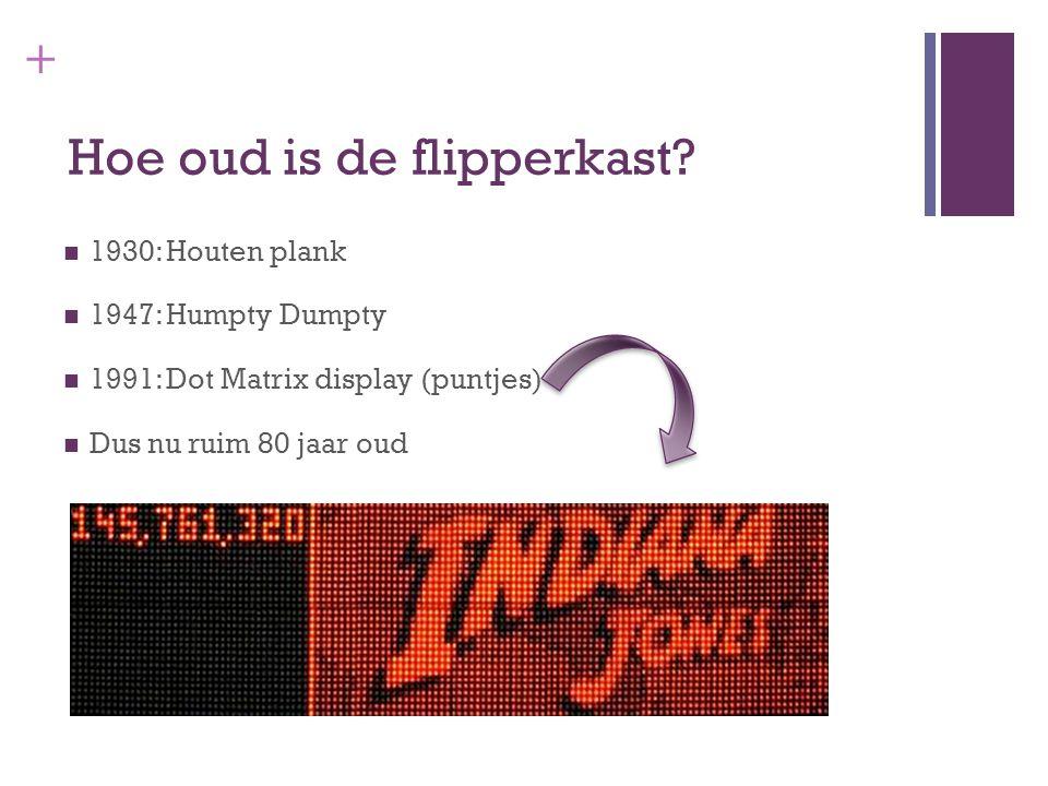+ Hoe oud is de flipperkast? 1930: Houten plank 1947: Humpty Dumpty 1991: Dot Matrix display (puntjes) Dus nu ruim 80 jaar oud