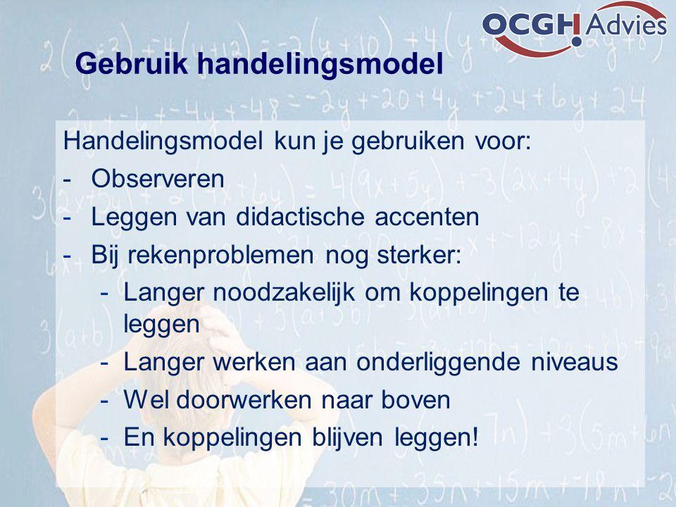 Handelingsmodel kun je gebruiken voor: - Observeren -Leggen van didactische accenten -Bij rekenproblemen nog sterker: -Langer noodzakelijk om koppelin