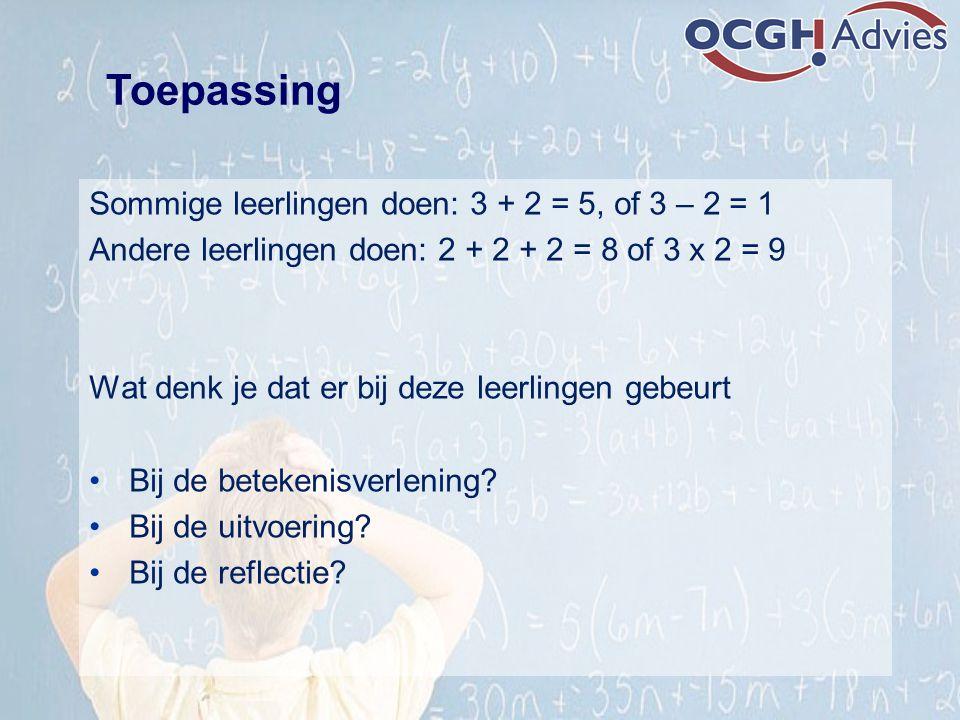 Sommige leerlingen doen: 3 + 2 = 5, of 3 – 2 = 1 Andere leerlingen doen: 2 + 2 + 2 = 8 of 3 x 2 = 9 Wat denk je dat er bij deze leerlingen gebeurt Bij