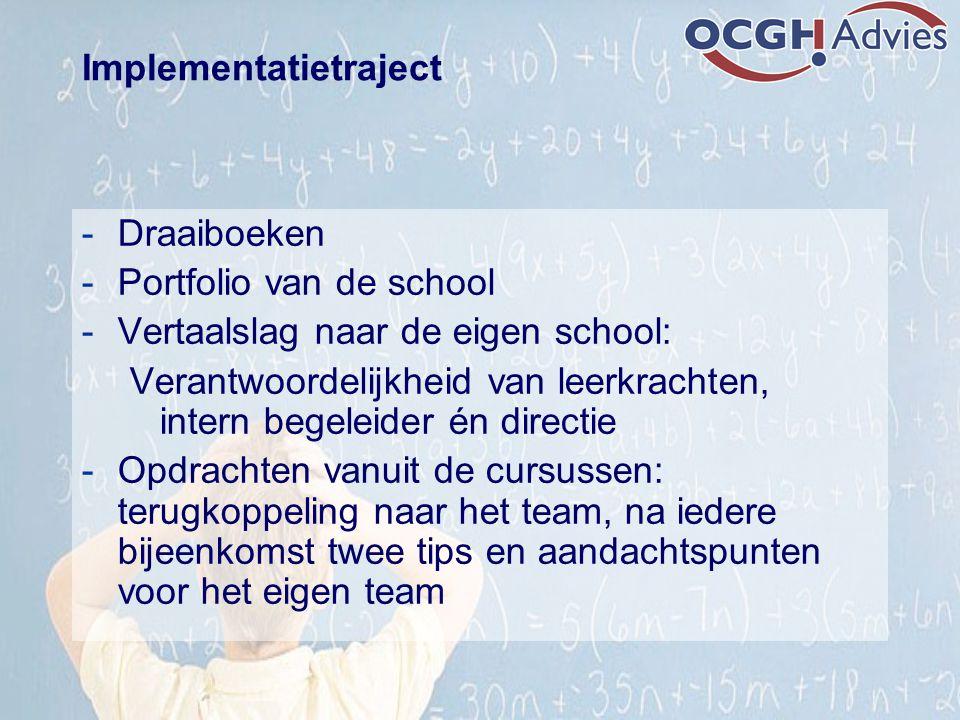 Implementatietraject -Draaiboeken -Portfolio van de school -Vertaalslag naar de eigen school: Verantwoordelijkheid van leerkrachten, intern begeleider