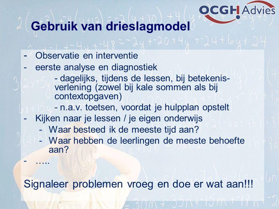 - Observatie en interventie - eerste analyse en diagnostiek - dagelijks, tijdens de lessen, bij betekenis- verlening (zowel bij kale sommen als bij co