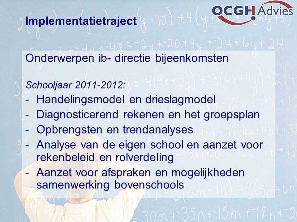 Implementatietraject Onderwerpen ib- directie bijeenkomsten Schooljaar 2011-2012: -Handelingsmodel en drieslagmodel -Diagnosticerend rekenen en het gr