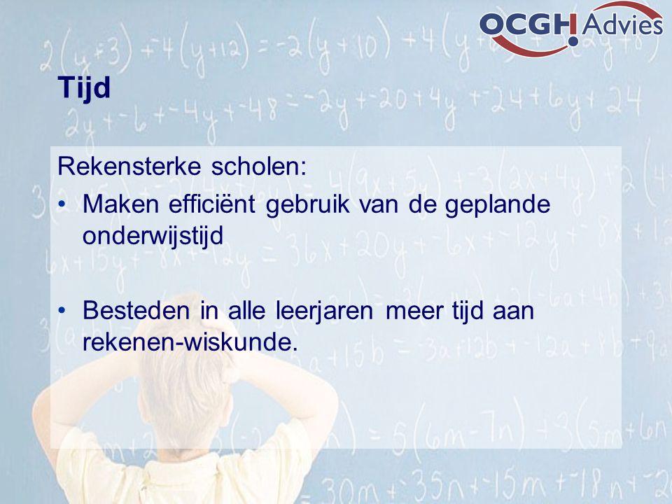 Tijd Rekensterke scholen: Maken efficiënt gebruik van de geplande onderwijstijd Besteden in alle leerjaren meer tijd aan rekenen-wiskunde.