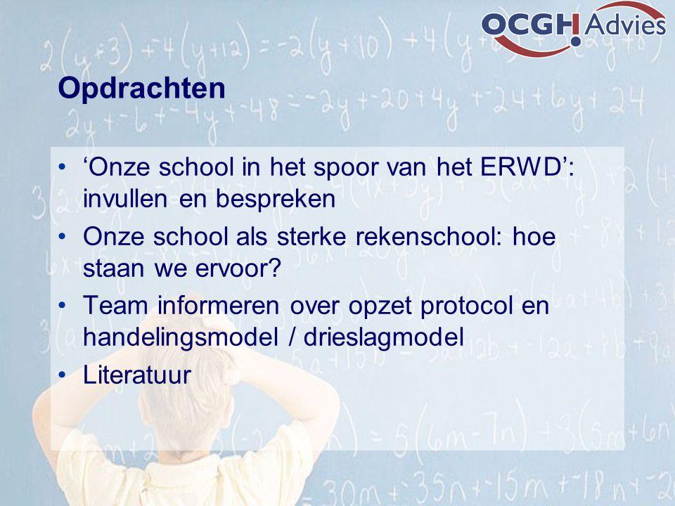 Opdrachten 'Onze school in het spoor van het ERWD': invullen en bespreken Onze school als sterke rekenschool: hoe staan we ervoor? Team informeren ove