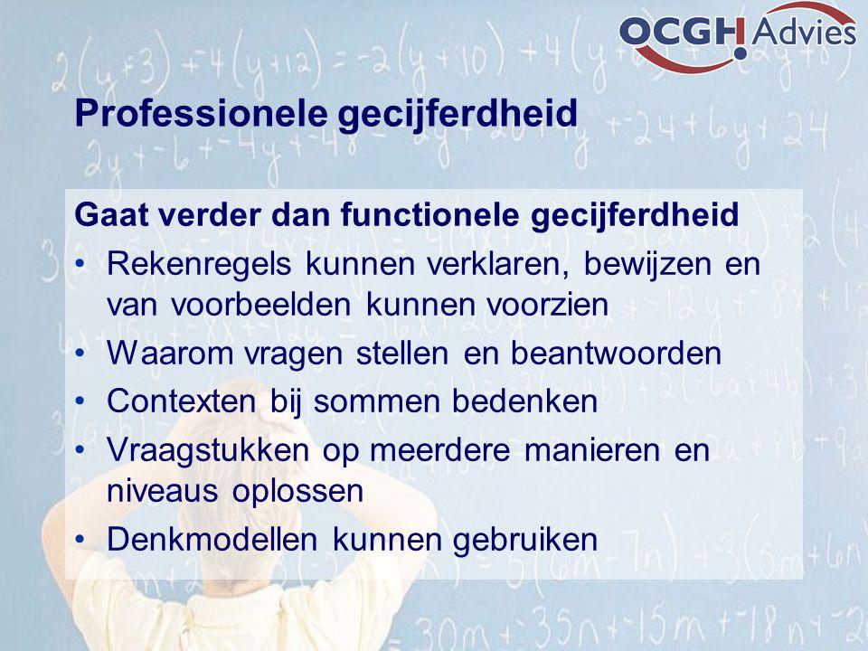 Professionele gecijferdheid Gaat verder dan functionele gecijferdheid Rekenregels kunnen verklaren, bewijzen en van voorbeelden kunnen voorzien Waarom