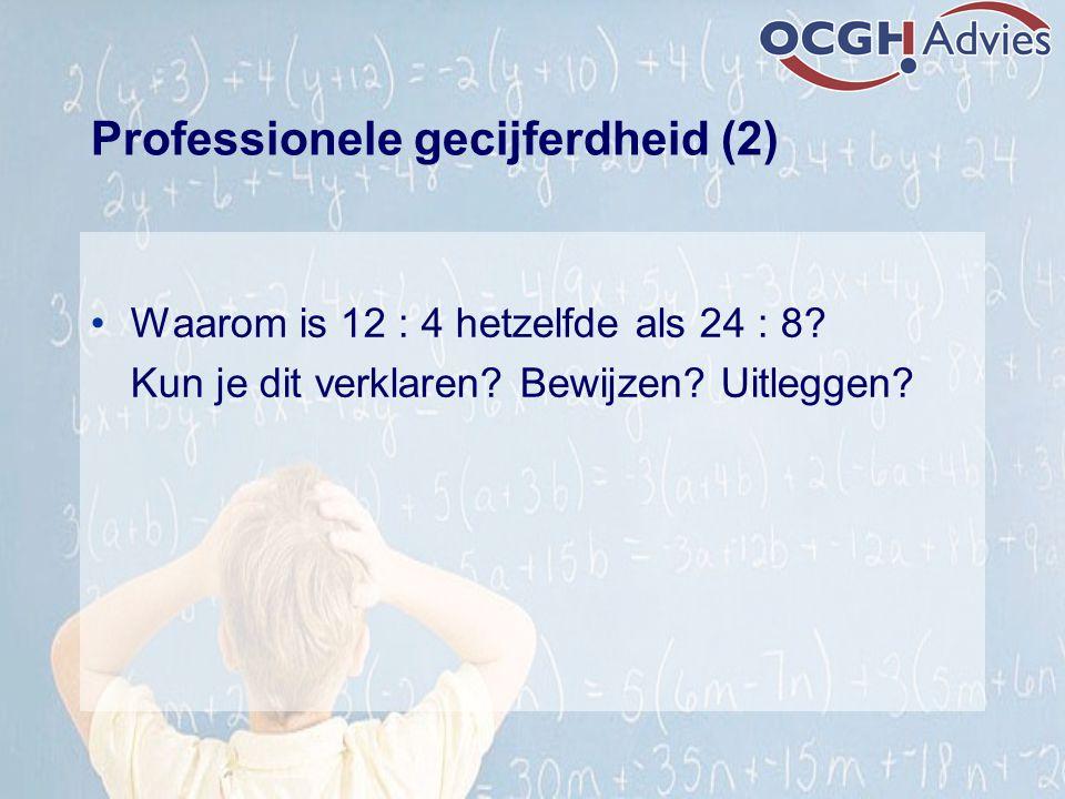Professionele gecijferdheid (2) Waarom is 12 : 4 hetzelfde als 24 : 8? Kun je dit verklaren? Bewijzen? Uitleggen?