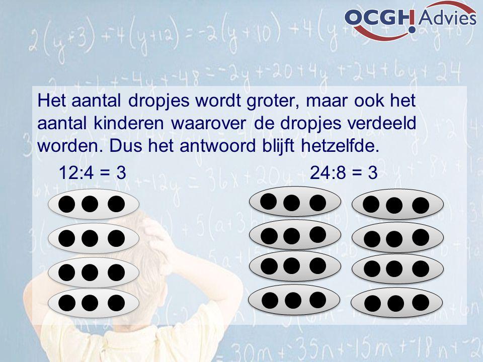 Het aantal dropjes wordt groter, maar ook het aantal kinderen waarover de dropjes verdeeld worden. Dus het antwoord blijft hetzelfde. 12:4 = 3 24:8 =