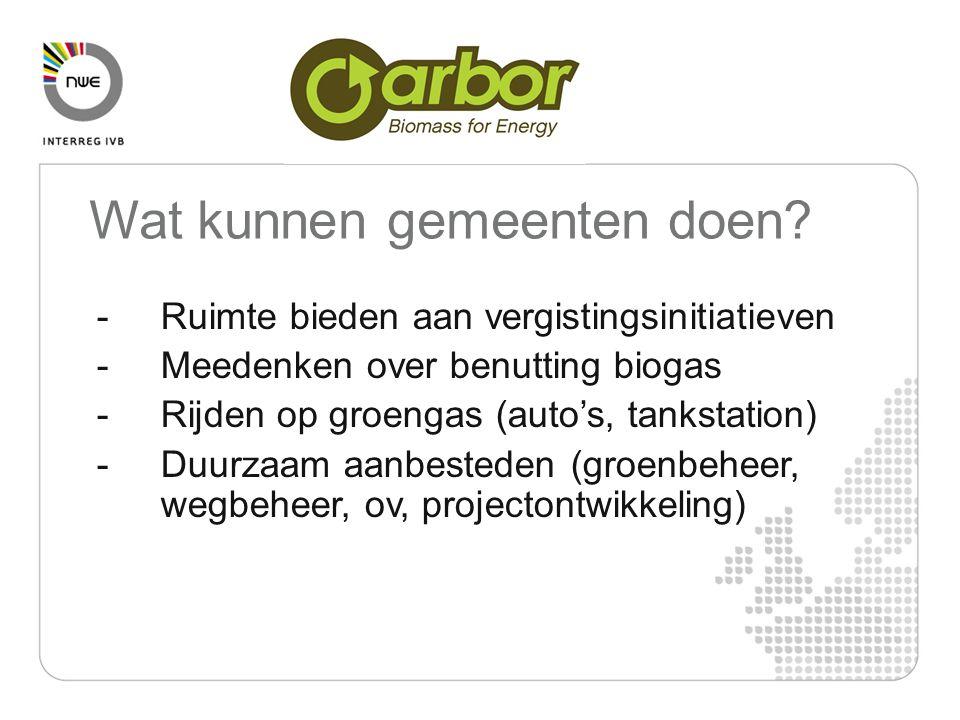 -Ruimte bieden aan vergistingsinitiatieven -Meedenken over benutting biogas -Rijden op groengas (auto's, tankstation) -Duurzaam aanbesteden (groenbehe
