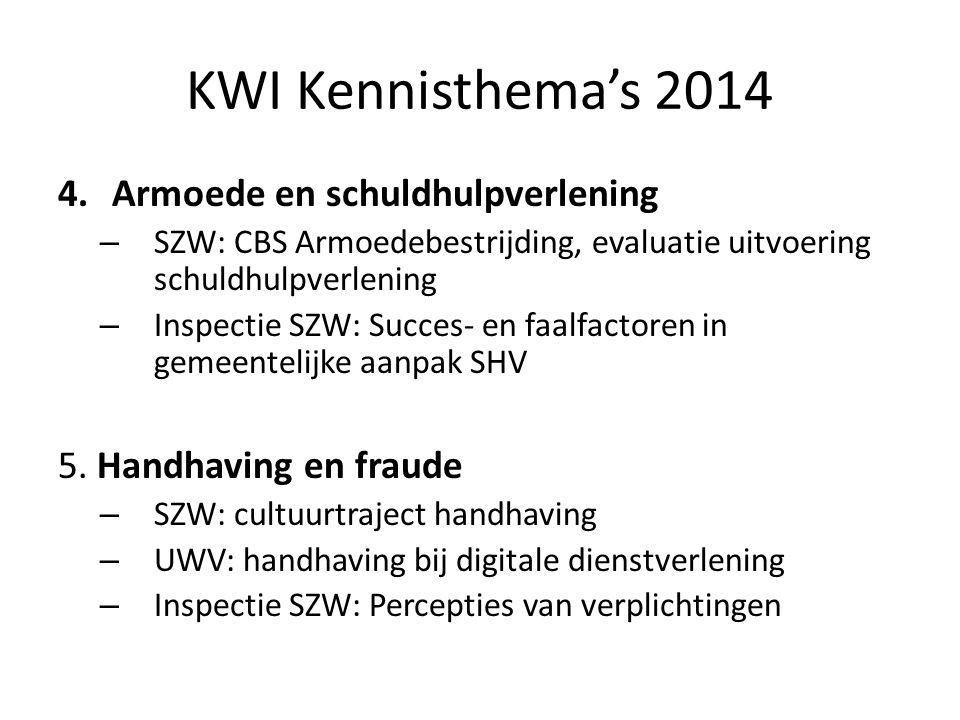 KWI Kennisthema's 2014 4.Armoede en schuldhulpverlening – SZW: CBS Armoedebestrijding, evaluatie uitvoering schuldhulpverlening – Inspectie SZW: Succe
