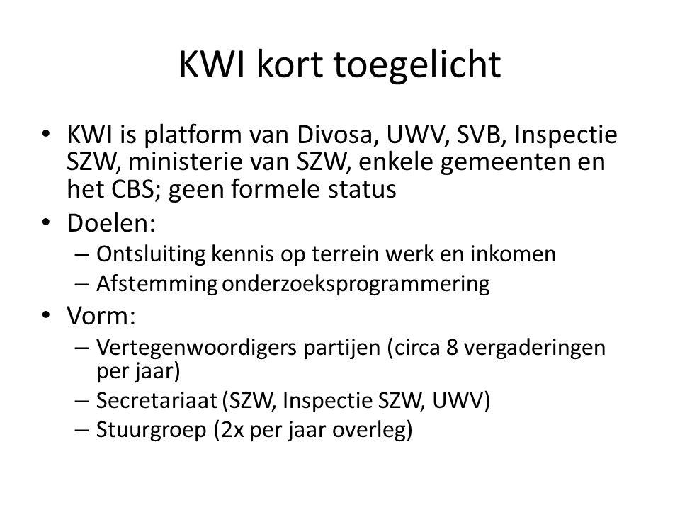 KWI kort toegelicht KWI is platform van Divosa, UWV, SVB, Inspectie SZW, ministerie van SZW, enkele gemeenten en het CBS; geen formele status Doelen:
