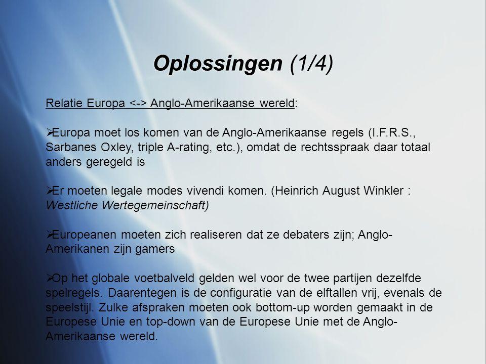 Oplossingen (1/4) Relatie Europa Anglo-Amerikaanse wereld:  Europa moet los komen van de Anglo-Amerikaanse regels (I.F.R.S., Sarbanes Oxley, triple A-rating, etc.), omdat de rechtsspraak daar totaal anders geregeld is  Er moeten legale modes vivendi komen.