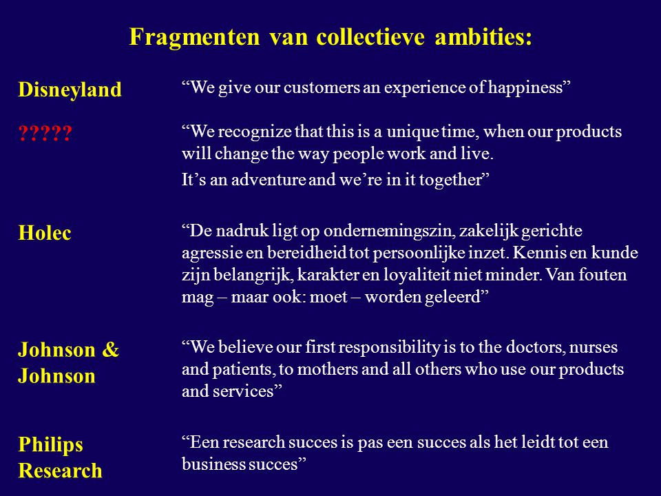"Fragmenten van collectieve ambities: Disneyland ""We give our customers an experience of happiness"" ????? ""We recognize that this is a unique time, whe"