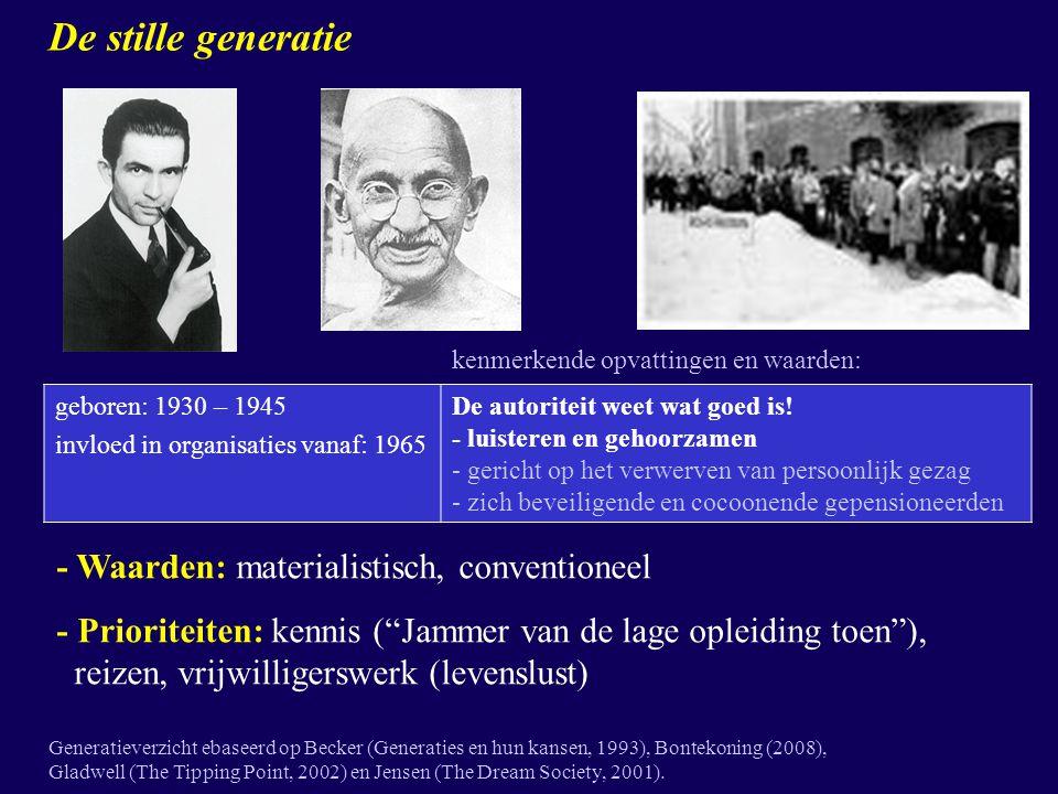De stille generatie geboren: 1930 – 1945 invloed in organisaties vanaf: 1965 De autoriteit weet wat goed is! - luisteren en gehoorzamen - gericht op h