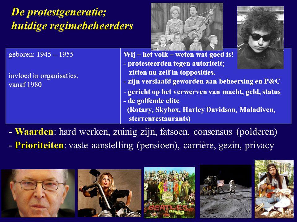 geboren: 1945 – 1955 invloed in organisaties: vanaf 1980 Wij – het volk – weten wat goed is! - protesteerden tegen autoriteit; zitten nu zelf in toppo