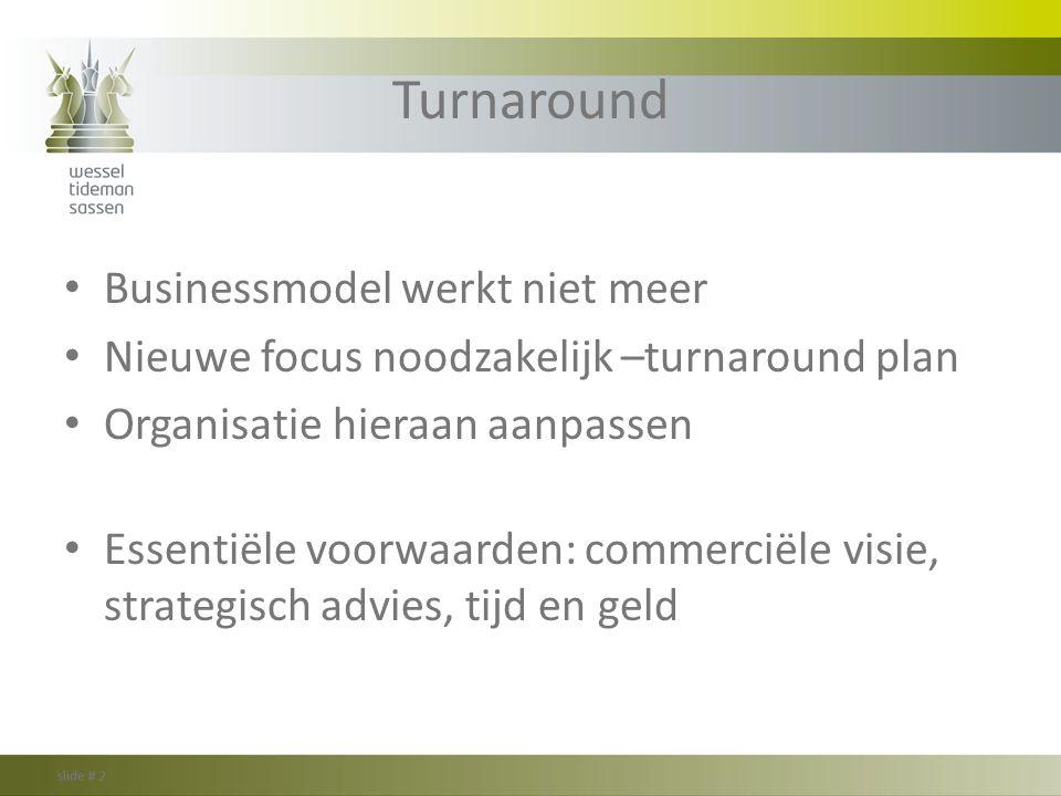 Turnaround Businessmodel werkt niet meer Nieuwe focus noodzakelijk –turnaround plan Organisatie hieraan aanpassen Essentiële voorwaarden: commerciële
