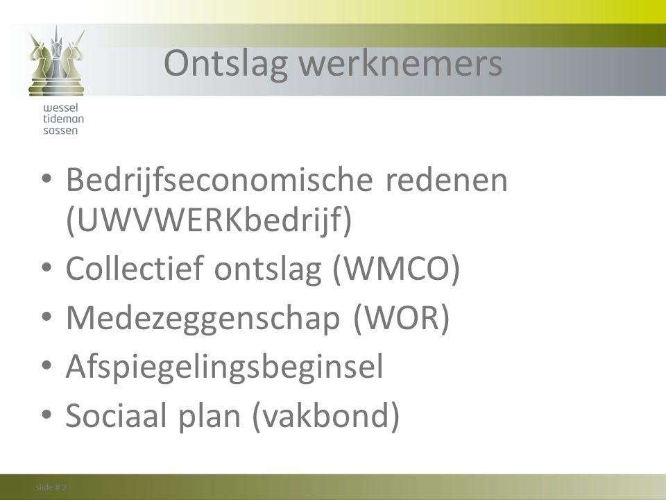 Ontslag werknemers Bedrijfseconomische redenen (UWVWERKbedrijf) Collectief ontslag (WMCO) Medezeggenschap (WOR) Afspiegelingsbeginsel Sociaal plan (va