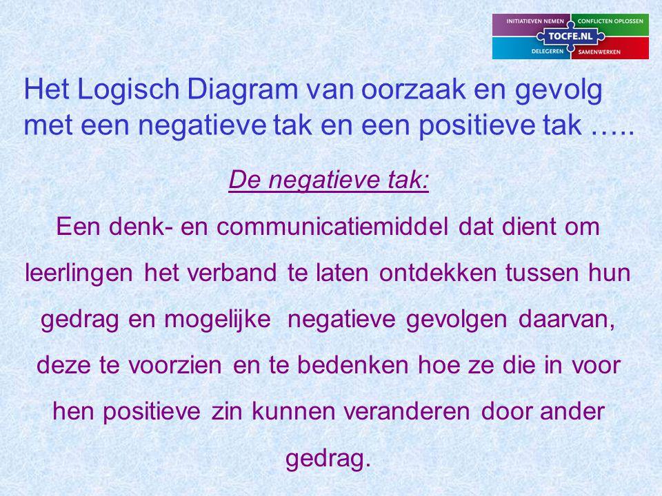 Het Logisch Diagram van oorzaak en gevolg met een negatieve tak en een positieve tak …..