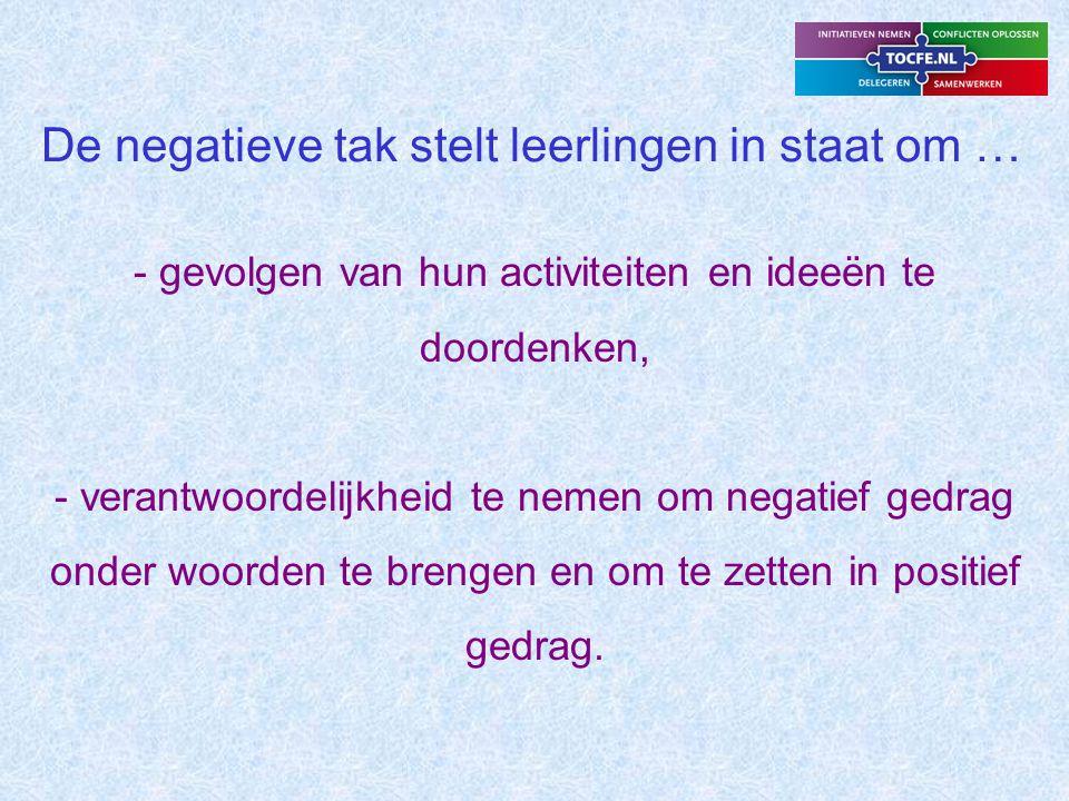 De negatieve tak stelt leerlingen in staat om: (2) - de verbanden te leggen in leerstof, - gevolgen te benoemen en toe te passen op hun eigen situatie.