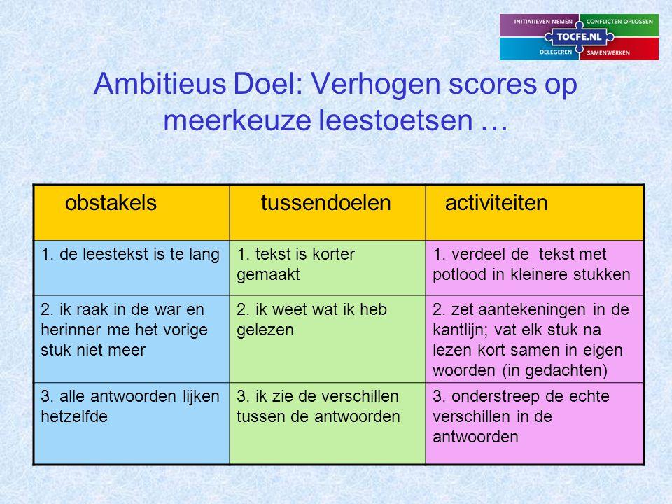 Ambitieus Doel Diagram is te gebruiken door leerlingen: - om obstakels te leren zien, - om concrete activiteiten te bedenken en uit te voeren en zo de obstakels te overwinnen.