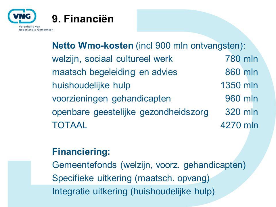9. Financiën Netto Wmo-kosten (incl 900 mln ontvangsten): welzijn, sociaal cultureel werk 780 mln maatsch begeleiding en advies 860 mln huishoudelijke