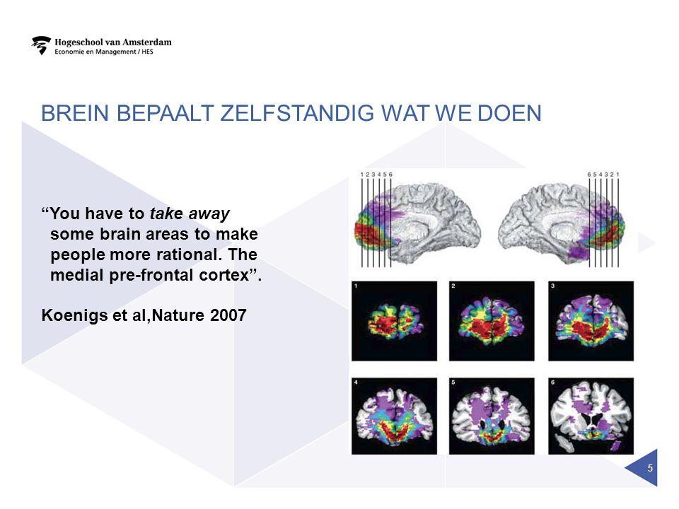 BREIN BEPAALT ZELFSTANDIG WAT WE DOEN 5 You have to take away some brain areas to make people more rational.
