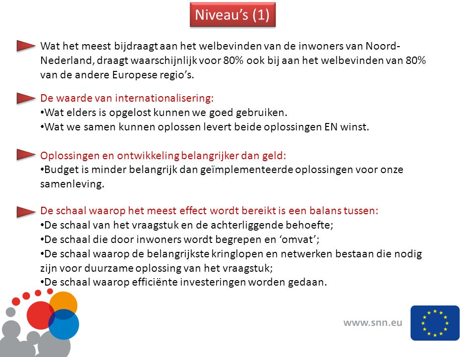 Niveau's (1) Wat het meest bijdraagt aan het welbevinden van de inwoners van Noord- Nederland, draagt waarschijnlijk voor 80% ook bij aan het welbevinden van 80% van de andere Europese regio's.