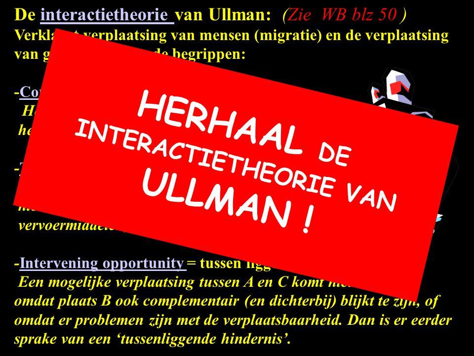 De interactietheorie van Ullman: (Zie WB blz 50 ) Verklaart verplaatsing van mensen (migratie) en de verplaatsing van goederen m.b.v. de begrippen:int