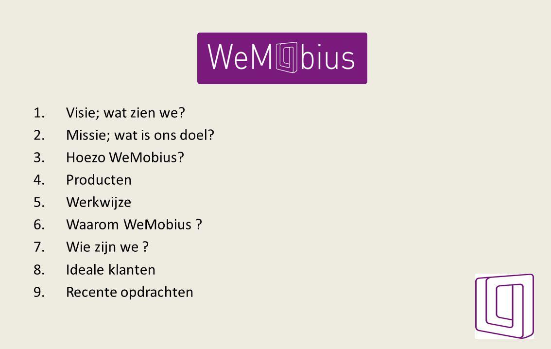 1.Visie; wat zien we? 2.Missie; wat is ons doel? 3.Hoezo WeMobius? 4.Producten 5.Werkwijze 6.Waarom WeMobius ? 7.Wie zijn we ? 8.Ideale klanten 9.Rece