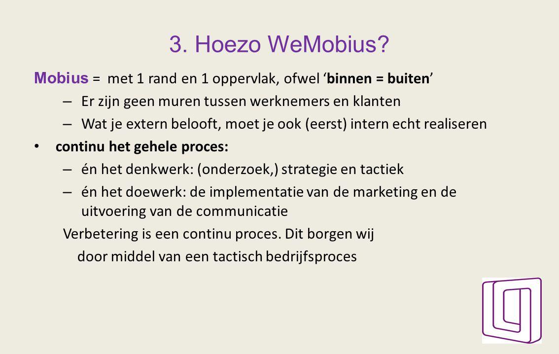 3. Hoezo WeMobius? Mobius = met 1 rand en 1 oppervlak, ofwel 'binnen = buiten' – Er zijn geen muren tussen werknemers en klanten – Wat je extern beloo